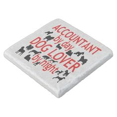 Dog Lover Accountant in Red Stone Coaster Stone Coasters, Custom Coasters, Travertine, Hostess Gifts, Keep It Cleaner, House Warming, Dog Lovers, Monogram, Red