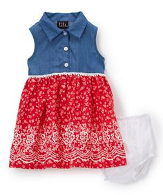 Take a look at this Lilt Denim & Red Floral Button-Up Dress - Infant today!