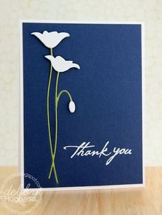 "handmade thank you card ... luv the deep blue with white on top .. Memory Box ""prim poppy"" die ... ""Thank you"" embossed in white ... clean and simply elegant!!"
