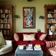 Let's read in this colorful room! (I would change the artwork for something that looks more vintage.)