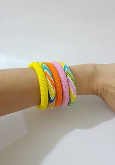 Beaded Crochet Roll On Bracelet  Bead crochet by SERMINCEJEWELRY
