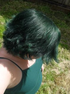 "Manic Panic ""Green Envy"", used on unbleached, level 3 brown hair. Basically the best thing ever."