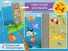 """""""TinyHands Sorting"""" is an educational game for children of age 2.5 and up. The game consists of 12 beautiful environments each focused on a set of basic concepts from the child's world such as shapes, colors, seasons, animals and vehicles."""