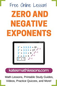 Need help with zero or negative exponents? This free math lesson explains what to do when you have an exponent or zero and how to simplify an expression with a negative exponent. Includes a practice quiz with instant feedback!