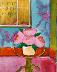 """Good Afternoon.  Today I am beginning a 15 in 15.  Seems a bit more realistic as the weather is so beautiful any given hour of the day.  My friend Haley came over and we picked a postcard of a painting and painted our own picture.  The card is a painting by Raoul Dufy """"la vie en rose"""" 1931.  My painting became """"pretty pretty peony"""" 2013.  It is 11 x 14 acrylic on canvas.    my name is bonnie taylor talbot and ipaintpictures    Enjoy!"""