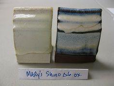 Mary's Fake Shino cone 6 oxidation    35 Frit 3195    24 Silica    16.2 Cornwall Stone    7.8 Whiting    6.0 EPK    4.8 Zinc Oxide    6.6 Tin Oxide    (  Add : 2.0 Iron Oxide for original shino recipe)  Added 8% Rutile for the tile above.    Left: white body  Right: black body