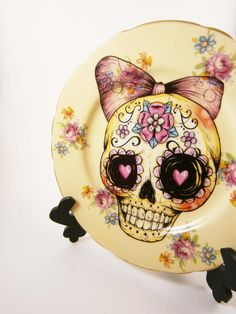 Yellow Sugar Skull Up-Cycled Vintage Side Plate by Little Lala