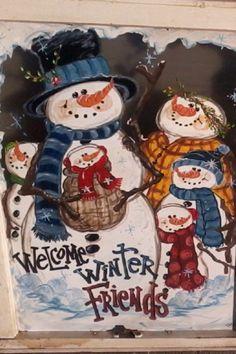 Snowmen window by casey sims