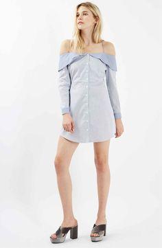 Main Image - Topshop Bardot Stripe Shirtdress