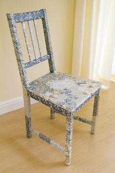 HAVERSHAM Rail back chair   Fabric decoupage furniture