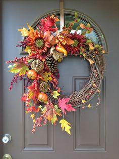 The Chic Technique: Fall Wreath for Front Door Sunflower Wreath Pumpkin by Flowenka Wreath Crafts, Diy Wreath, Door Wreaths, Grapevine Wreath, Wreath Ideas, Thanksgiving Wreaths, Autumn Wreaths, Christmas Wreaths, Wreath Fall
