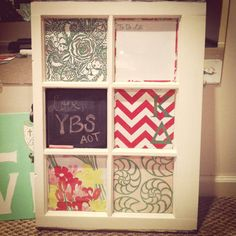 Upcycle old window pain. Mix of scrapbook paper, chalk board paint & window markers...which the kids already have!