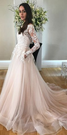ALBA wedding dress by Kelly Faetanini in Blush // Beaded, embroidered long sleeve illusion ombre ball gown with horsehair hem and pockets. @kellyfaetanini #KellyFaetanini #weddingdress #weddinggown #sponsored #wedding #bridal #blush #weddingdresses
