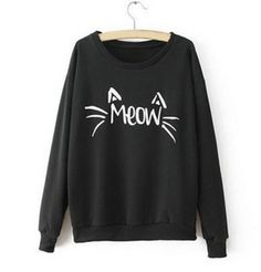 Pure Color Round Neck Long Sleeve Letters Cat T-shirt MS on Luulla