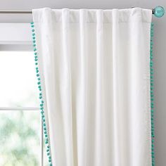 (CURTAIN USED IN REVISED RENDERING) Alternative Curtains: Ellie's Room Pom Pom Blackout Drape #pbteen