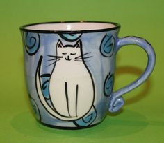 Cat Pottery Mug. MADE IN AUSTRALIA. Wheel thrown and handpainted ceramic coffee cup. Blue//White Cat//Dots//Spirals.