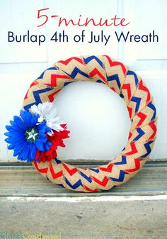 What 4th of July party would be complete without a patriotic DIY decoration? With a craft this easy to make—it takes only 5 minutes—you sure won't throw your party without this Burlap 4th of July Wreath ever again!