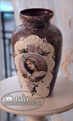 imitacja marmuru na wazonie szklanym - Asket Bottle Vase, Bottles And Jars, Decoupage, Altered Art, Diy And Crafts, Coasters, Antiques, Sweet, Blog