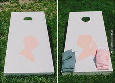 homemade silhouette cornhole game | VIA #WEDDINGPINS.NET