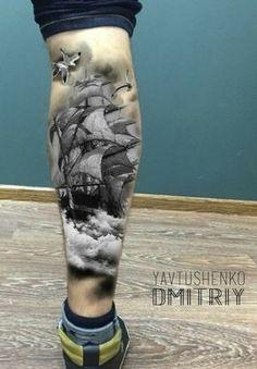 Ship tattoo on foot - Ship tattoo on foot - Future Tattoos, Love Tattoos, Unique Tattoos, Black Tattoos, Body Art Tattoos, Tattoos For Guys, Arrow Tattoos, Gun Tattoos, Calf Tattoo