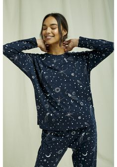 People Tree Fair Trade & Organic Cotton Nightwear sets. Lightweight, organic and breathable- this comfortable pyjama collection is printed with an intricate galaxy design and made from the softest 100% GOTS certified organic cotton. Shop conscious this festive season and gift these to friends and family #organiccotton #pyjamaset #fairtrade Cotton Nightwear, Little Mix Style, Neue Outfits, Galaxy Design, Fair Trade, Long Sleeve Tops, Organic Cotton, Style Me, People