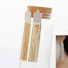 Crystal Tassel Long Stud Earrings via LAU ACCESSOIRES. Click on the image to see more!