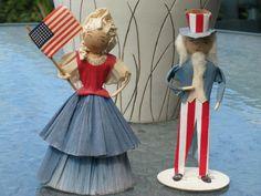 Vintage 1950's (?) Uncle Sam and Wife crepe paper/spun cotton figures
