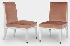 JACQUES QUINET (1918-1992) A Pair of Upholstered Lacquered Wood Side Chairs, 1940s with gilt-metal sabots each 33¼ in. (84.5 cm.) high (2)