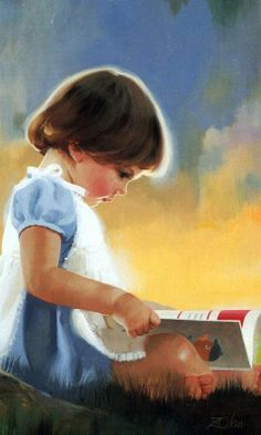 Meisje kijkend in een boekje.