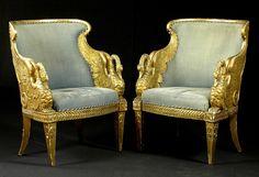 Fauteuil gondole de cygne. François-Honoré-Georges Jacob-Desmalter (1770 – 1841) attributed. The armchairs are a formal variation of a design produced by Jacob Desmalter for Joséphine de Beauharnais, for the Château de Malmaison in 1799-1800.