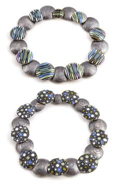 """Ford and Forlano: Pillow Necklace - Reversible, In polymer and oxidized sterling silver. Pillows are approximately 1.5"""" in diameter. Necklace is 20"""" in length."""