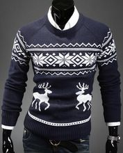 Christmas Sweaters For Men 2016 New Fashion Reindeer Knitting Pattern Crew Neck Pullovers Free Shipping(China (Mainland))