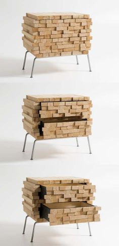 Our brains are conditioned to translate a sequence of long and short horizontals, properly aligned, as a set of stacked lumber waiting for use rather than a finished home furnishing. In this second item, though, the legs are a little bit of a giveaway.