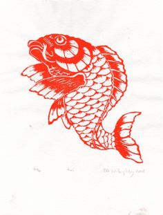Koi Limited Edition Lino Block Print by minouette on Etsy, $21.00