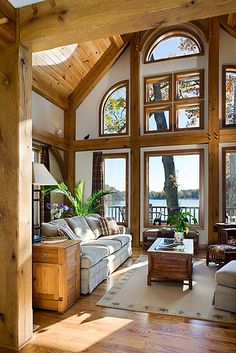 west lake timber frame home great room by riverbend timber framing via flickr