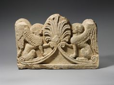 Limestone grave relief with two sphinxes  Period:     Cypro-Classical Date:     late 5th century B.C. Culture:     Cypriot