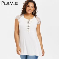691a64ddfc0 PlusMiss Plus Size White Lace Up Tunic Tops Women Clothes 5XL Big Size Lace  Cap Sleeve Loose Blouse Ladies Summer XXXXL XXXL XXL