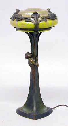 Art Nouveau Figural Bronze and Unsigned Loetz Glass