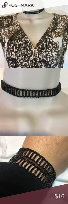 """Black choker necklace/bracelet by Ketzali NWT. Designed with seed beads handmade in Guatemala, this necklace has been handmade by artisans at Ketzali, a company that promotes fair trade and sustainable fashion. Check them out at www.ketzali.com. Has loops to adjust from 12.5 to 14"""". Also have gold and iridescent available. See my closet for listings. Ketzali Jewelry Necklaces"""