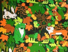 2 Yds Vtg Juvenile Fabric Nursery Wildlife Scandinavian Danish Finland Swedish
