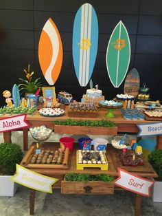 Organize sem Frescuras   Rafaela Oliveira » Arquivos » Surf Party: Aniversário de 1 ano criativo e gastando pouco Luau Birthday, Mickey Birthday, Summer Birthday, Luau Party, Baby Party, Aloha Party, Ideas Decoracion Cumpleaños, Hawaiian Party Decorations, Festa Toy Story