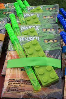 alton boys: Joseph's Ninjago Birthday Party! Party favors - lego pencil cases, ninjago folders, bubble swords