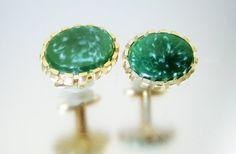 Green Glass Cufflinks Vintage Cuff Links Swirl by LadyandLibrarian
