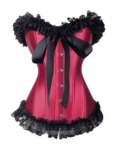 38fc77cc23 sexy gothic burgundy satin lace trim ribbon tied bow corset bust -  condition  brand new color  burgundyfabric satinbone steel busk   plastic  ...