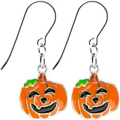 Handcrafted Pumpkin Jackolantern Halloween Earrings #piercing #jewelry #costume