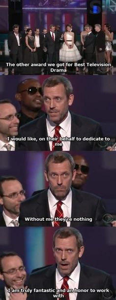 hugh laurie, accept speech, houses, laugh, stuff, funni, hous md, movi, humor