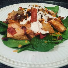 #Whole30 Dinner!! Spinach salad with last night's salmon onions bacon carrots and #whole30ranch! #breakupchallenge2016 #januarywhole30 #whole30food #whole30alumni #cleaneating #paleo #whole30mayo #dinner #foodpics #healthy #lblogger #challenge #fitfam #fitmoms #fitnation #goals