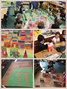 First Grade Mapping activity using craft paper, construction paper and paper bags. Students created layout, mapped the town, and color coded maps to show goods and services.