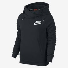 Nike Rally Funnel Neck Pullover Women's Hoodie. Black/Black/White. Size S