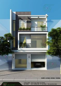 3 Storey House Design, Duplex House Plans, Bungalow House Design, House Front Design, Modern Zen House, Modern House Facades, Modern House Design, Urban Interior Design, Narrow House